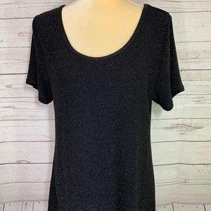 LuLaRoe Classic T Black Gold Sparkle Shirt Size L